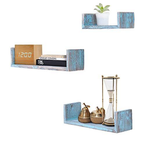 Comfify Rustikales Schweberegal in U-Form im Vintage Design - 3er-Set - Schrauben und Dübel inklusive - Landhaus Holzregale für Schlafzimmer, Wohnzimmer und mehr - Rustikales Design - Blau -