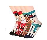 ILOVEDIY 4Paar Design Frau Mädchen Weihnachten Festlicher Spaß Neuheit Cotton Socken Weihnachtssocken Christmas stockings