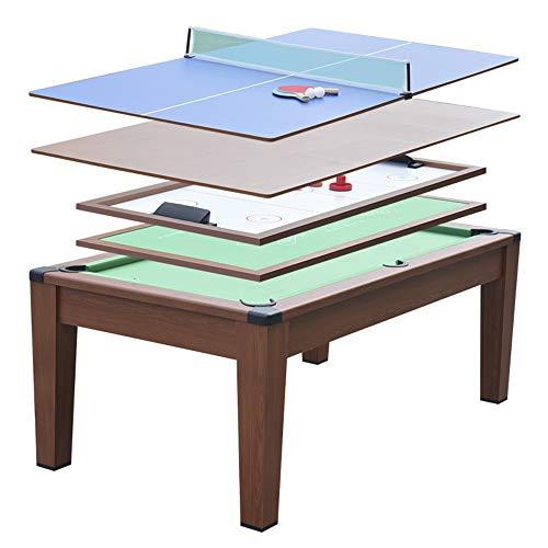 Devessport - Mesa Multijuegos (5 Juegos en 1) - Billar, Airhockey, Ping-Pong, Póker, Mesa de Comedor, Patas con Mayor Estabilidad - Medidas: 195 x 109 x 79 Cm
