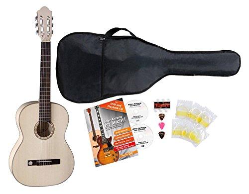 VGS Pro Natura Silver 7/8 Konzertgitarre Starter Set (Massive Fichtendecke, Boden und Zargen: Ahorn, Set inkl. Tasche, Gitarrenschule, Stimmpfeife, 3 Plektren & 1 Satz Saiten) Seidenmatt