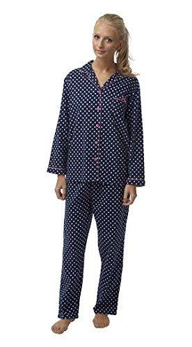 Femmes Polaire Hiver Avant Le Bouton Haut Manches Longues Salon Set Pyjama Avant Le Bouton Pois Marine