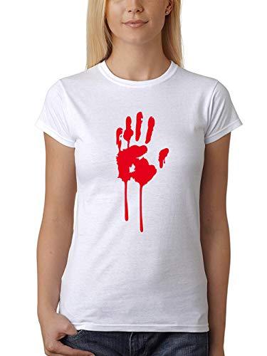 Kostüm Girl Freitag - clothinx Damen T-Shirt Fit Halloween Bluthand Weiß Größe M