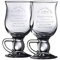 Galway Crystal - Copas de Cristal Transparente (1 par), con Texto en inglés de bendición Irlandesa