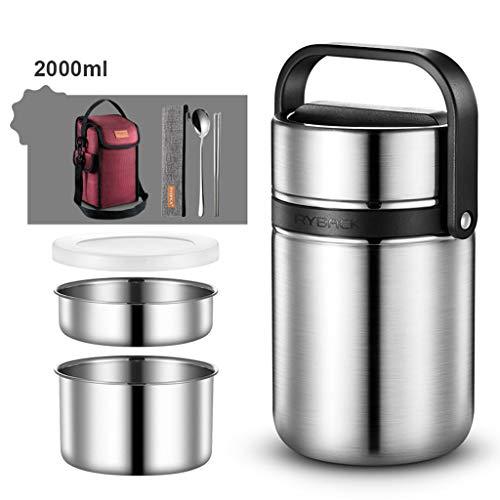 Thermos Lunchbox Vacuum Insulated Lunchbox 304 Edelstahl Portable Multi-Tier-Food Jar mit isolierter Tasche und Besteck Langzeit-Isolierung 4-8 h (Farbe : SCHWARZ, größe : 2L) Insulated Food Jar
