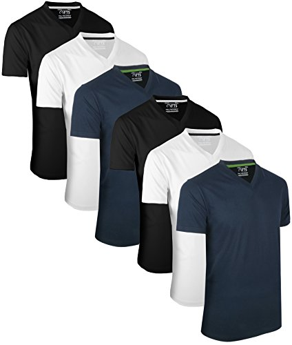 Full Time Sports 6 Pack Navy Weiß Schwarz mit V-Ausschnitt Tech T-Shirts (4) Large -