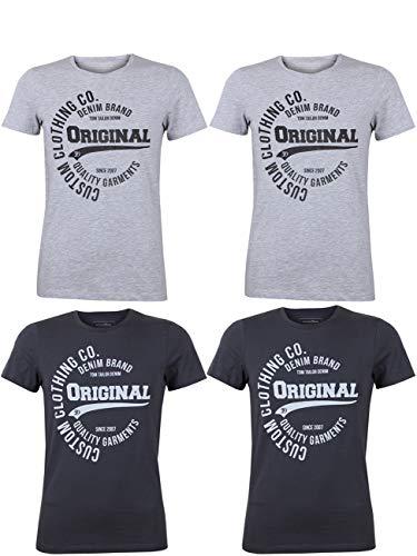 TOM TAILOR Denim Herren T-Shirt mit Frontprint im günstigen 4er Pack, Größe:M, Farbe:2X Light Stone Grey Melange 2X Tarmac Grey