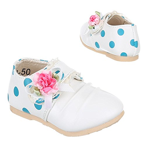 Kinder Schuhe, 223-50, BALLERINAS MIT DEKO VERZIERTE Weiß
