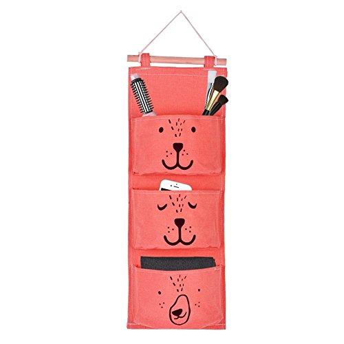 Yosoo Aufbewahrung Hängende Tasche Leinen Stoff Wand Tür Tasche Hängende Taschen für Socken Schuhe Spielzeug Schmuck 3 Tasche ( Farbe : Orange ) - Wand-hängende Schmuck-box