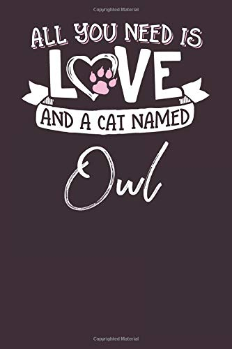 and a Cat Named Owl: 6x9 Cute Owl Cat Name Notebook Journal Gift for Cat Lovers Owners ()