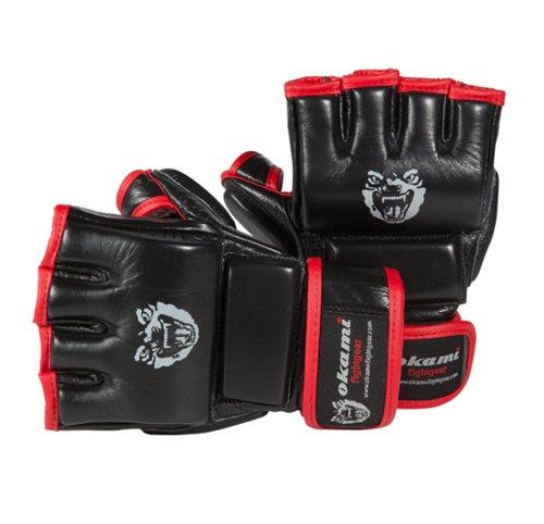 OKAMI Fightgear MMA Hi Pro Training Gloves, schwarz rot, M, 12-0001
