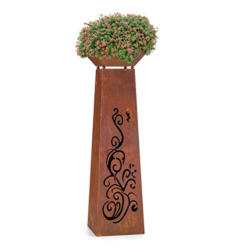 feuerschale auf saeule blumfeldt Flower Tower • Pflanzschale • Blumensäule • Blumentopf • Feuerschale • Gartendekoration • Stahlblech • Rost-Design • künstlich gealtert • Ornament-Schnitt • rustikal • braun
