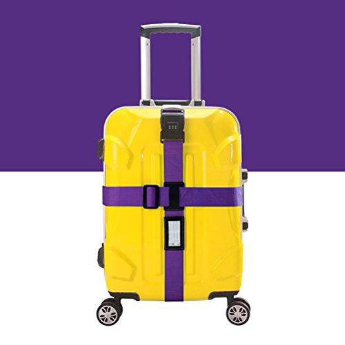 NUOLUX Gepäckgurt Kofferband Rutschfest Kreuz Gepäck Gurt mit Passwort 3-stelligen Zahlenschloss (lila) (Samsonite-gepäck Sperre)