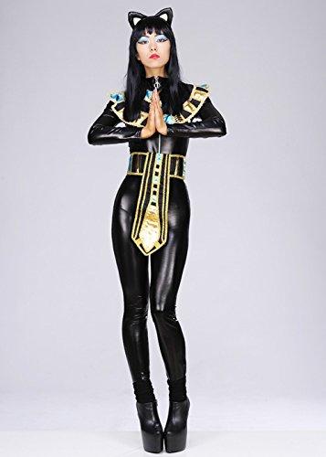 Kostüme Ägyptische Womens Göttin (Womens Deluxe ägyptische Göttin Katze Kostüm L (UK)