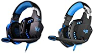 Kotion Each Over The Ear Headsets with Mic & LED - G2000 Edition (Black/Blue)&Cosmic Byte Kotion Each