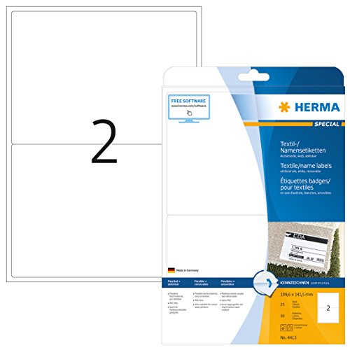 Herma 4413 Textiletiketten ablösbar (199,6 x 143,5 mm) weiß, 50 Stück, 25 Blatt A4, Textilschilder bedruckbar, selbstklebend