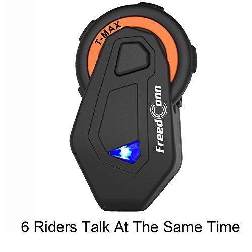 yuzeu moto Bluetooth intercomunicador casco, 6corredor Intercom simultanés 1500m FM Radio, compatible...