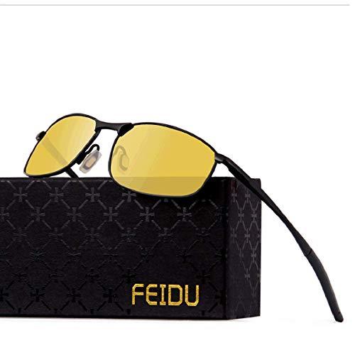 FEIDU Sportbrille Sonnenbrille Herren Polarisierte,HD Lens Metal Frame Driving Shades FD 9005 (Gelb Schwarz, 57)