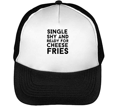 Single Shy Ready Cheese Fries Men's Baseball Trucker Cap Hat Snapback Black White (Tv-netflix-ready)