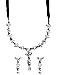 Clear Crystal Drop Necklace and Earrings Set, Black Silk Cord of Length 39 cm + 8 cm Extender