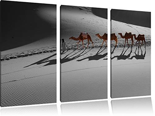 Kamelkarawane in der Sahara schwarz/weiß 3-Teiler Leinwandbild 120x80 Bild auf Leinwand, XXL riesige Bilder fertig gerahmt mit Keilrahmen, Kunstdruck auf Wandbild mit Rahmen, günstiger als Gemälde oder Ölbild, kein Poster oder Plakat - Sonnenaufgang In Der Wüste Fertig