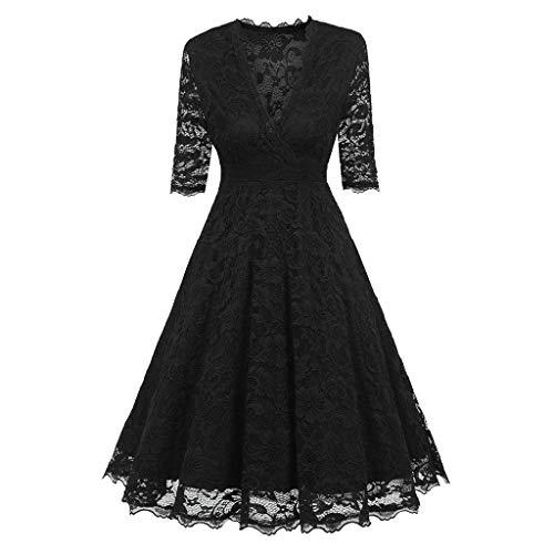 MAYOGO Große Größen Vintage Spitze Kleid Halbarm V-Ausschnitt Lang Maxikleid Party Abendkleid Rockabilly Kleid,Unifarben ()