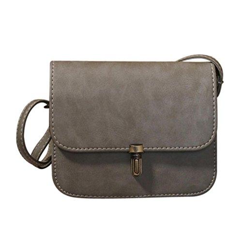 Umhängetasche Damen Btruely Schultertasche Elegant Schule Messenger Handtaschen Vintage Taschen (Grau) (Messenger Kurze Bag Tote)