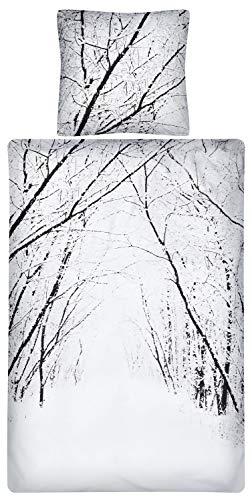 Aminata Kids - Fein-Biber-Bettwäsche-Set 155-x-220 cm Winter-Motiv-Landschaft Schnee-flocken 100-% Baumwolle Weiss-e Landhaus-Stil 3-D braun Natur Wald (Queen-size-braun Flanell-bettwäsche)