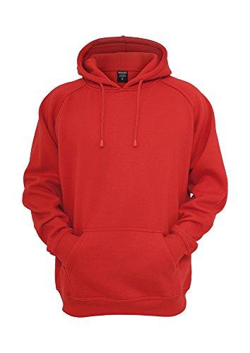 Urban Classics Sweatshirt, Hoodie Herren, Kapuzenpullover einfarbig (Pullover in vielen Farben erhältlich, ausgestattet mit Kapuze und Bauchtasche) Rot-1