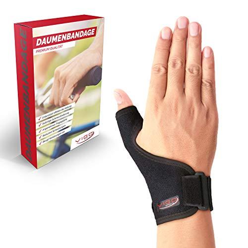 Vigo Sports® medizinische (universal) Daumenbandage für links & rechts - Elastische Daumenschine für Damen & Herren | Daumenorthese z.B. für Sattelgelenk, Kapselriss & Sehnenscheidenentzündung etc. -