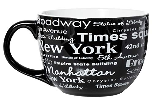 New York City Landmarks and Destinations Wrap Design Jumbo Latte Tasse/Suppentasse aus Keramik