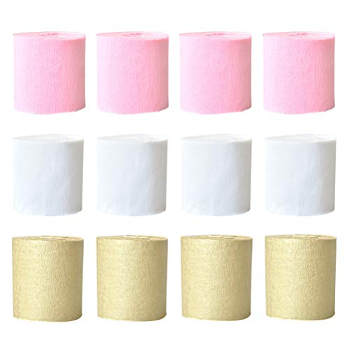 er, Krepppapier, Dekoration, Papier für die Dekoration von Party Hochzeit Party Geburtstag (Gold + Rosa + Weiß) 12 Stück ()