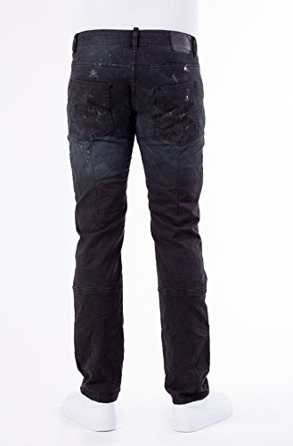 BLUE MONKEY Stretchhose in Paint Splash Optik mit Zipper-Details Alva 2012 Herren Casualmode 1001285 Schwarz