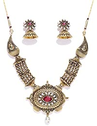 Zaveri Pearls Antique Gold Tone Traditional Necklace Set For Women-ZPFK7246