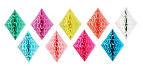 SUNBEAUTY 30er Set 10cm Raute Wabenbälle Dekoration für Party Feier (Mix) (Paper Diamond)