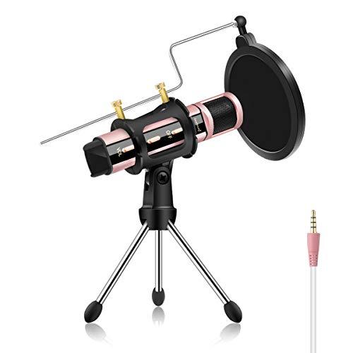Microfono di registrazione Smartphone 3.5mm Mini Microfono Portatile 140 * 30 * 30mm Oro rosa.