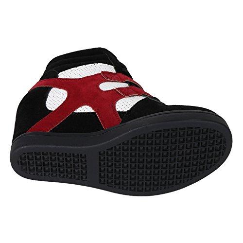 Sportliche Damen Basic Sneaker-Wedges Bequeme Sneakers Jennika Schwarz Weiss Rot