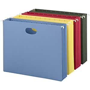 Hanging Pocket File Folders with Full Height Gusset, Letter, Assorted, 4/Pack, Sold as 1 Package