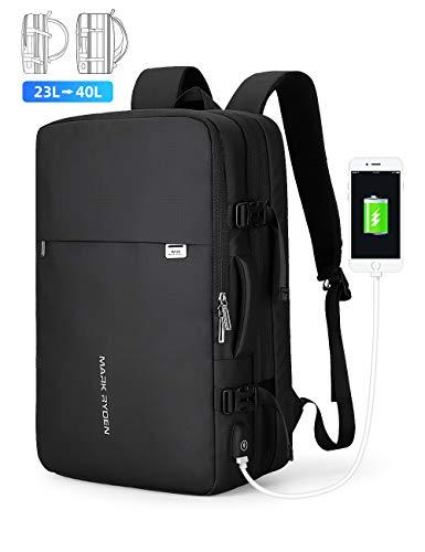 MARK RYDEN Erweiterbarer 25L-40L Rucksack zum Mitnehmen Wasserdichter Laptop-Wochenendrucksack für 17,3-Zoll-Laptops, Diebstahlschutz, fluggeprüfter Rucksack, Handgepäckrucksack für Wochenendtrips ... -