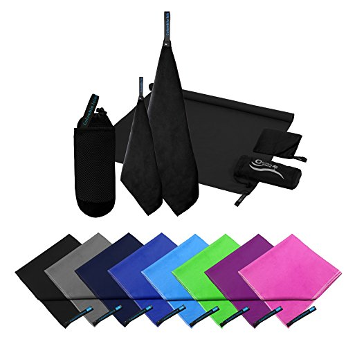 2er Set Reisehandtuch dark blue Mikrofaser Handtuch 70x140 cm + 30x50cm Sport-Handtuch saugfähig Badehandtuch (Schwarz)