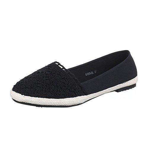Damen Schuhe, B1809-BL, HALBSCHUHE ESPADRILLES SLIPPER Schwarz