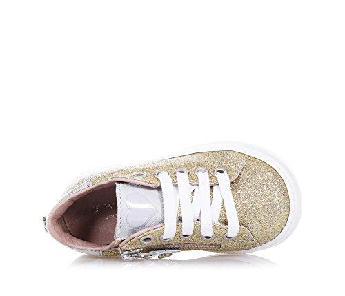 TWIN-SET – Goldener Schuh mit Schnürsenkeln aus Glitzern und Leder, phantasievoll und modisch, seitlich ein Reißverschluss, Mädchen - 4