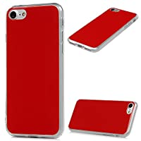 MAXFE.CO iPhone 7 Case, iPhone 8 Case Pure Color TPU + PC Hybrid Cover Case Drop-Protection Design Bumper Shockproof Grip Case for iPhone 7/ 8 - Red
