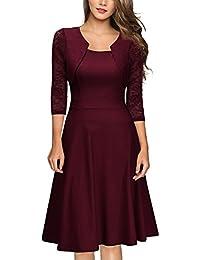 MIUSOL Damen Elegant Spitzen Cocktailkleid Vintag Knielang Party Kleid