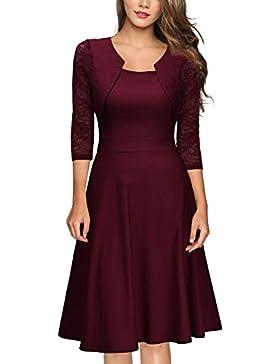 [Sponsorizzato]MIUSOL Donna Vintage 1950s Vestito Elegante Manica 3/4 Abito a Pieghe