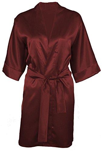 Dkaren - Kimono/Morgenmantel aus Satin - 90 - Large - Schokolade (Schokolade Kimono)