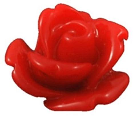 Resin Rose Cabochons Flat Backs 10mm x 20 pieces (Crimson)