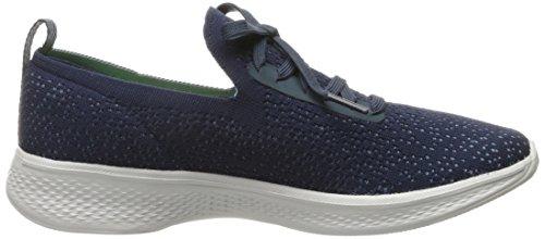 Skechers Go Walk 4-Reward, Formateurs Femme Bleu (Navy/grey)