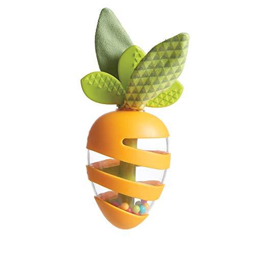Tiny Love Carota Sonaglio con Bastone della Pioggia, massaggiagengive e foglie fruscianti, Arancione
