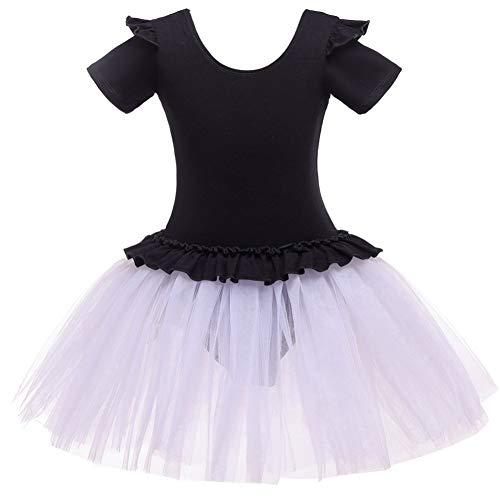 Schwarz Biketard Kostüm Tanz - Ballettkleid Mädchen mit kurzen Ärmeln Tutu Party Leistung Tanz Üben Kinderkostüme für 3-12 Jahre