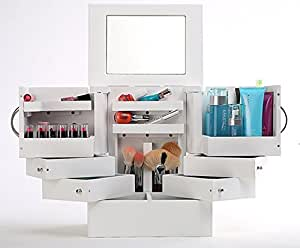 deluxe organizer kosmetik box mit spiegel weiss 90 grad. Black Bedroom Furniture Sets. Home Design Ideas